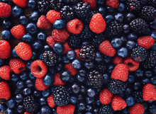 Blueberies, Raspberries And Bl...