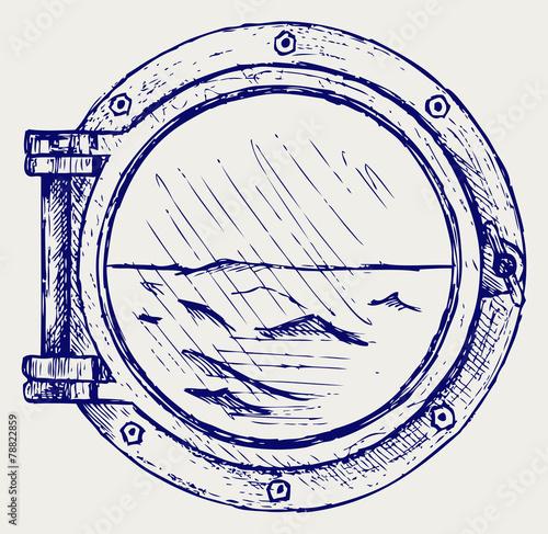 Photo  Metallic porthole. Doodle style