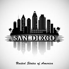 San Diego Skyline. City Silhou...