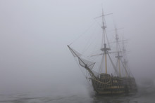 Old Ship In The Fog Of The Win...