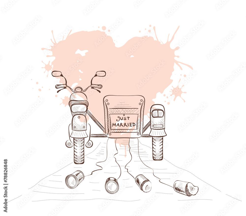Fototapeta Graphics vector illustration -- wedding moto with sidecar