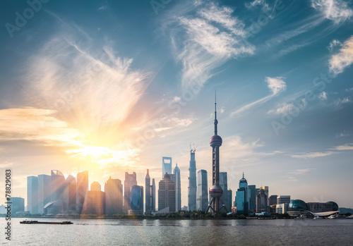 Photo Stands Shanghai shanghai skyline in sunny morning