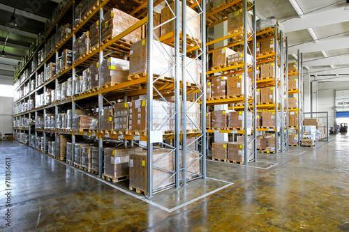 Poster Industrial geb. Warehouse shelves
