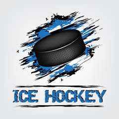 Fototapeta Sport Ice hockey background with puck and grunge effect