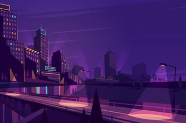 Fototapeta samoprzylepna Night cityscape. Vector illustration.