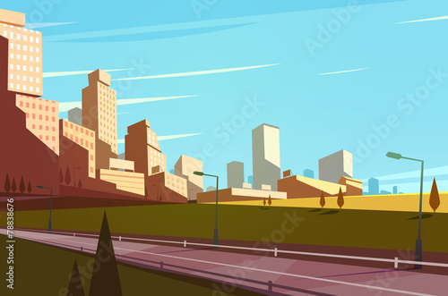 Fotografia  Cityscape with highway. Vector illustration.