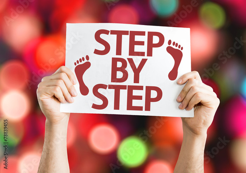 Fotografie, Obraz  Step By Step card with colorful background