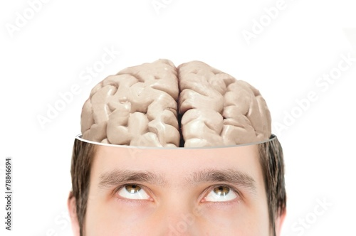 Juliste  Brain in sliced mans head