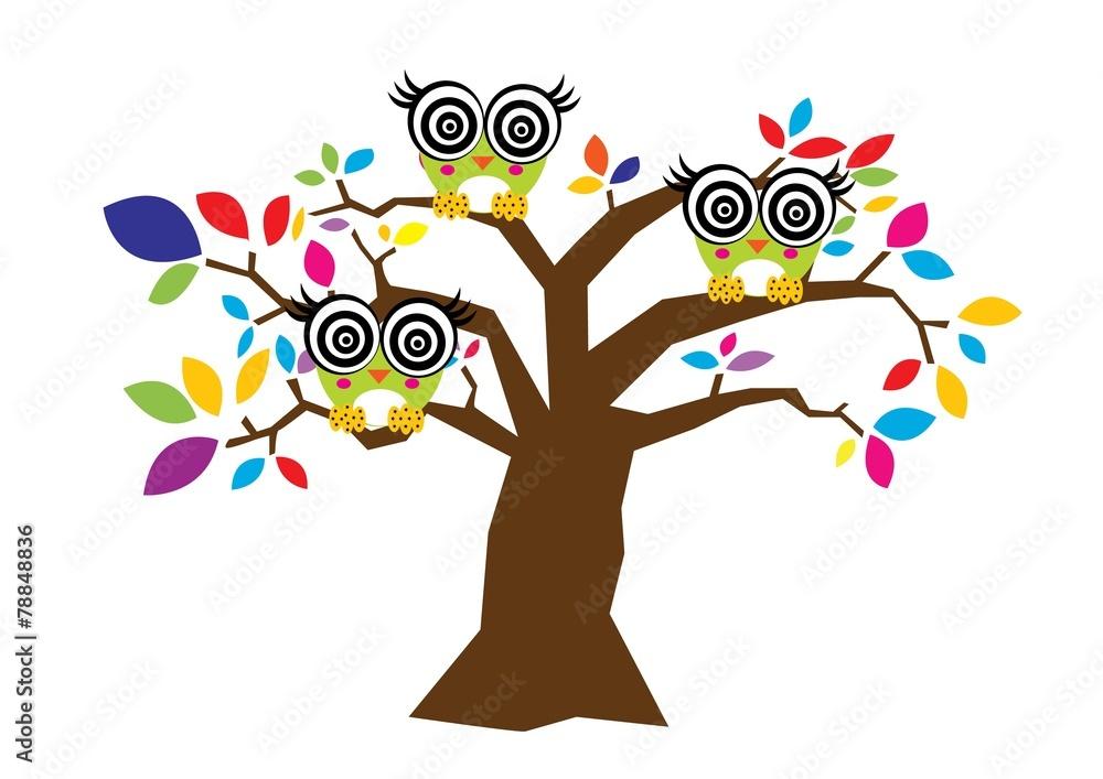 Fototapety, obrazy: drzewo,sowy,