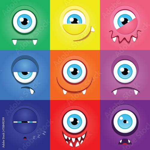 Set Of Funny Cartoon Expression Monsters With One Eye Buy This Stock Vector And Explore Similar Vectors At Adobe Stock Adobe Stock