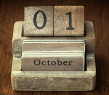 A Very Old Wooden Vintage Calendar Showing The Date Of 1st Octob