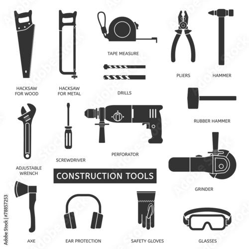 Fotografie, Obraz  Construction tools vector icons set.