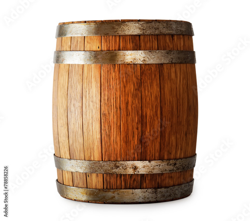 Papel de parede Wooden oak barrel isolated on white background