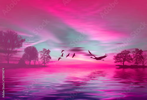 Tuinposter Roze Beautiful landscape with birds