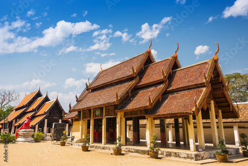 Pavilion in the temple and blue sky Lampang ,Thailand Canvas Print