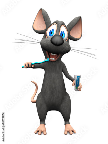 Fototapety, obrazy: Smiling cartoon mouse brushing his teeth.