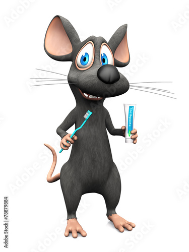 Smiling cartoon mouse ready to brush his teeth. - fototapety na wymiar