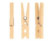 Closeup Wooden Clothspins
