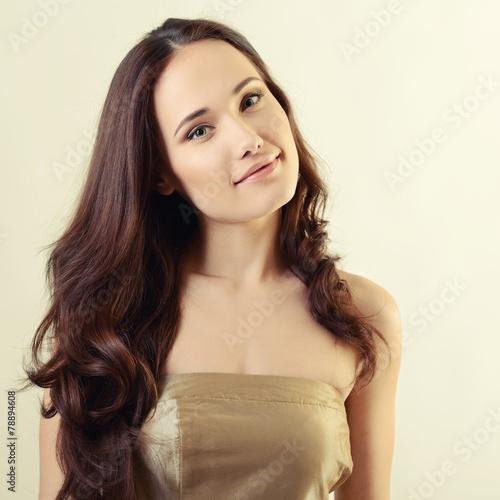 fashion girl, beautiful young woman posing at studio, image tone
