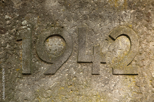 Photo  Year 1942 carved in the stone. The years of World War II.