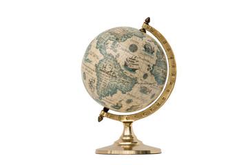 Fototapeta Old Style World Globe - Isolated on White