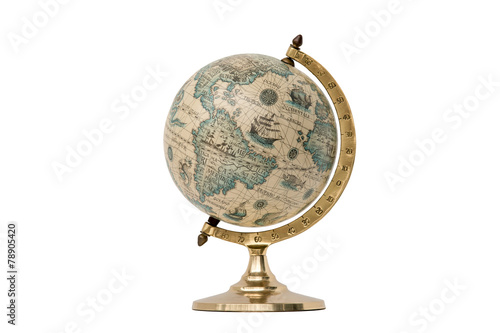 Photo Stands South America Country Old Style World Globe - Isolated on White
