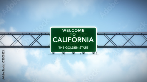 California USA State Welcome to Highway Road Sign #78909823