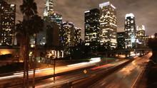 Time Lapse Of LA Downtown Buildings & Freeway  Los Angeles - Clip 1