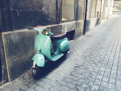 Aluminium Prints Scooter old, mint vintage motor scooter in Palma de Mallorca