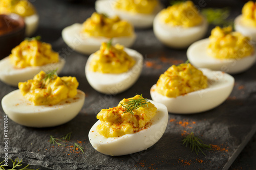 Fototapeta Homemade Spicy Deviled Eggs obraz