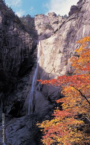 Deurstickers Aubergine 가을 바위산