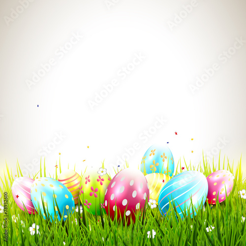 Photo  Sweet Easter background with colorful eggs and copyspace