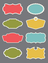 Set Of 8 Frame Or Label Vector Design Elements