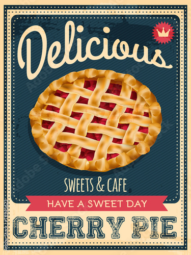 vector vintage styled cherry pie poster Wallpaper Mural