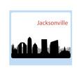 Cartoon skyline silhouette of the city of Jacksonville, Florida,