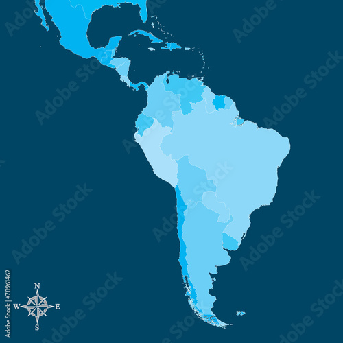 South America Map - Vector Map of South America with north arrow