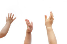 Three 1 Year Old Babies Raise Hands To Show Their Wish