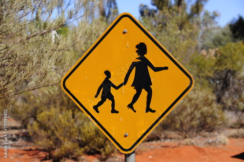 Fotografering  Yellow People Crossing sign in outback australia