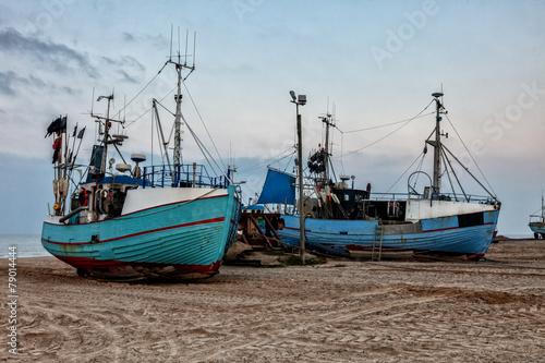 Papiers peints Scandinavie Fishing boats at Thorup beach on the Danish North Sea coast