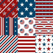 Patriotic Red, White And Blue Geometric Seamless Patterns.