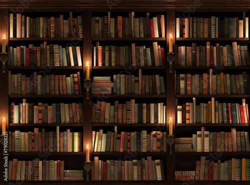 Fotografía  Bookshelf. Seamless texture (vertically and horizontally)