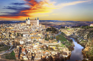 Fototapeta Panorama Miasta beautiful sunset over old Toledo, Spain