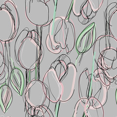 FototapetaTulip seamless pattern / Sketch of pink spring flowers