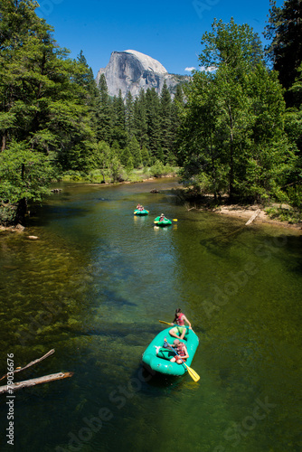 Yosemite valley with a group of kayakers Canvas Print