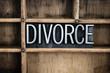Divorce Concept Metal Letterpress Word in Drawer