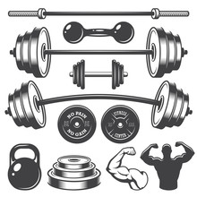 Set Of Vintage Fitness Designe...