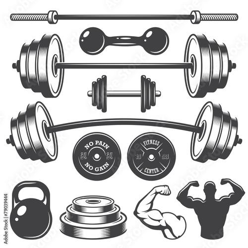 Set of vintage fitness designed elements Canvas Print