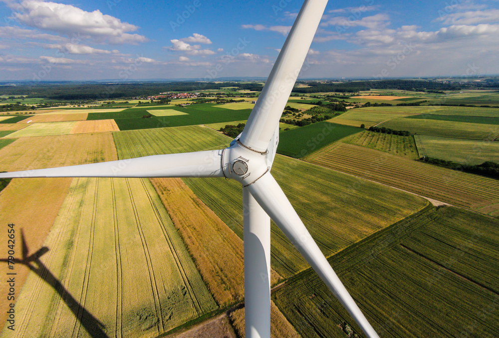 Fototapety, obrazy: Wind turbine on a field, aerial photo