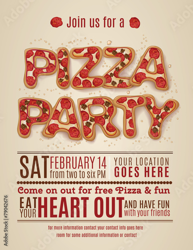 vector pizza party flyer invitation template design Canvas Print