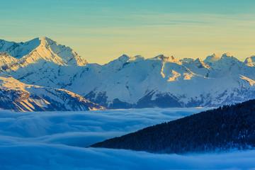 Panel Szklany Góry Thyon 4 Valleys, Swiss Alps - sunrise